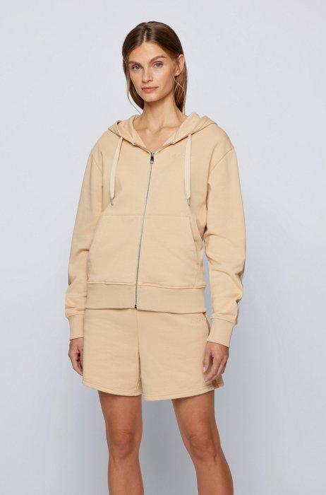 Relaxed-fit sweater met capuchon en logo in reliëf, Lichtbeige