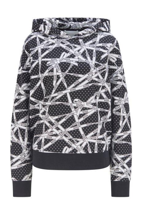 Gepunktetes Kapuzen-Sweatshirt aus Baumwolle mit Logo-Print, Gemustert