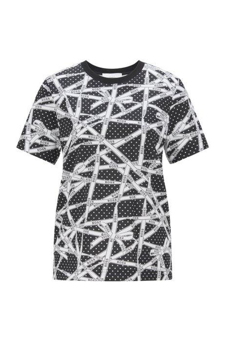 Camiseta de algodón orgánico con estampado de lunares y logos, Fantasía