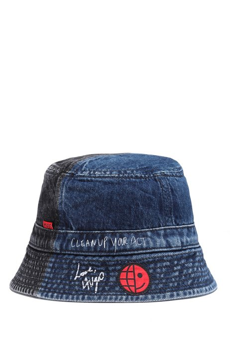 Bucket hat in repurposed Italian denim with exclusive branding, Blue