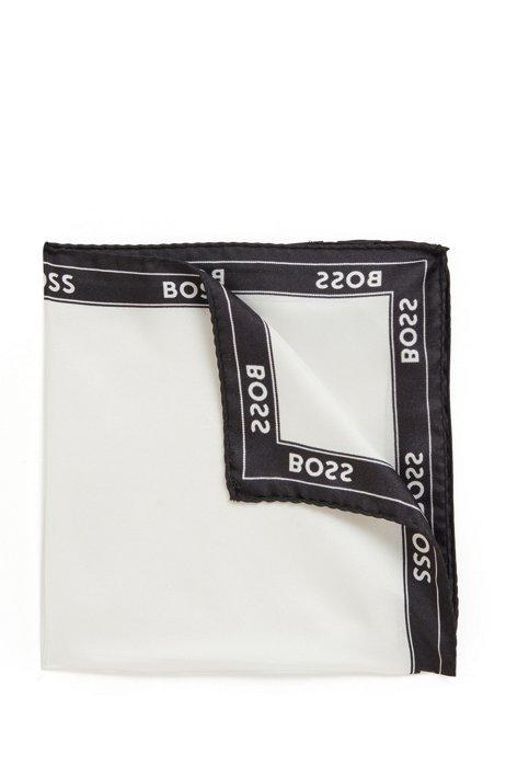 Einstecktuch aus Seide mit Logo-Bordüre, Weiß