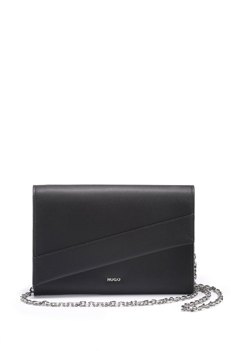 Leather clutch bag with asymmetric flap and chain strap, Black