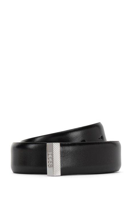 Cintura in pelle italiana con fibbia moderna, Nero