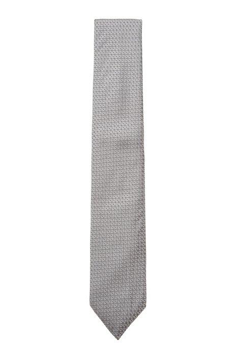 Cravate en jacquard de soie à motif confectionnée en Italie, Gris