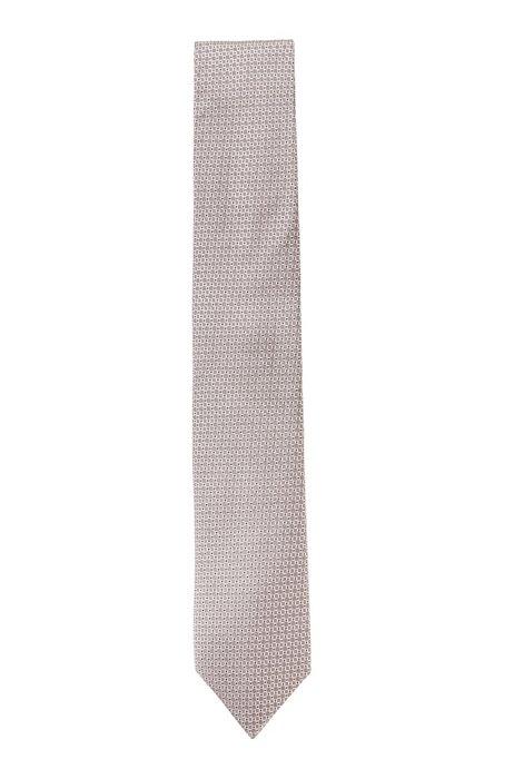 In Italië vervaardigde stropdas van zijde met jacquarddessin, Lichtroze