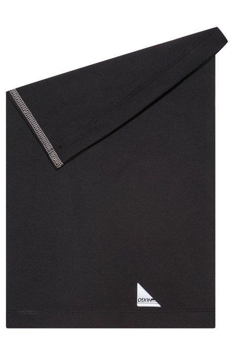 Schlauchschal aus Stretch-Jersey mit Logo-Print, Schwarz