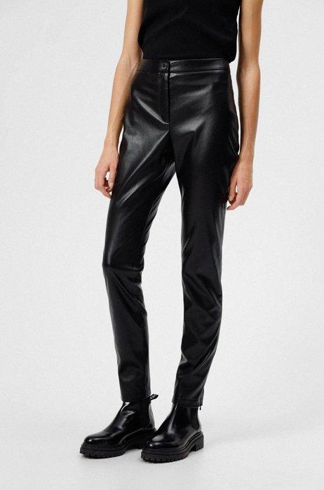 Slim-fit broek van imitatieleer met ritsen onderaan de pijpen, Zwart