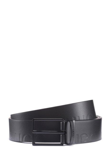 Cinturón reversible de piel con logos grabados, Negro