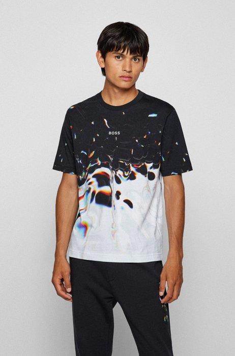 T-Shirt aus Baumwolle mit Grafik-Print von Maxim Zhestkov, Schwarz gemustert