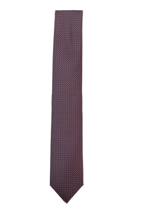 Cravate en soie déperlante à motif jacquard, Rouge