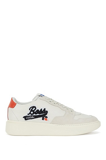 带有绒面革饰边和独家标志的意大利皮革运动鞋,  114_Open White