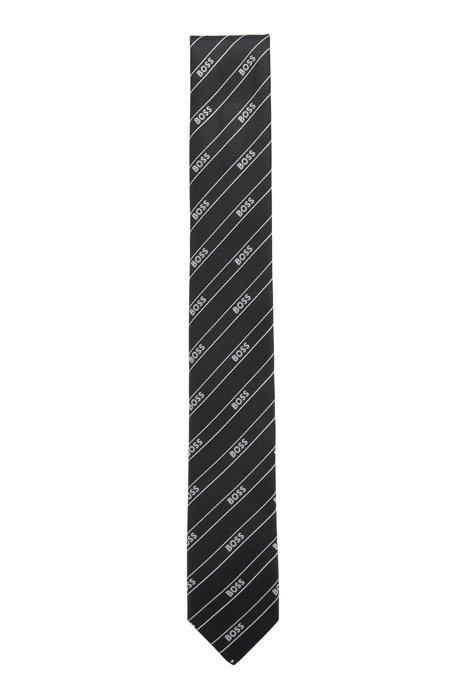 Cravate en tissu recyclé à ruban logo en diagonale, Noir