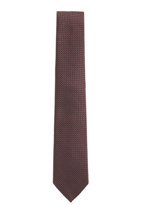 Cravate en jacquard de soie à micromotif, Marron foncé