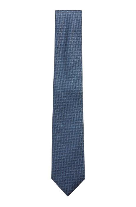 Patterned tie in silk jacquard, Dark Blue