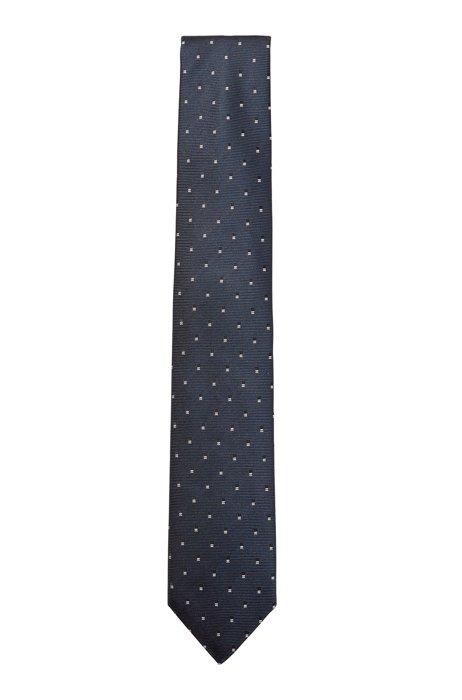 Cravate en jacquard de soie à motif, Bleu foncé