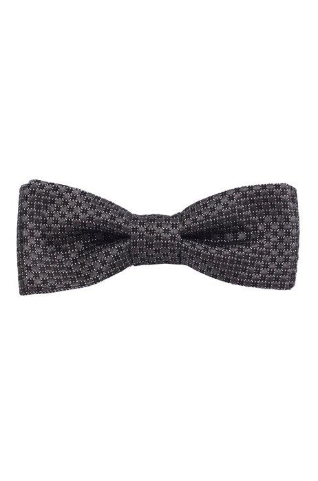 Silk-jacquard bow tie with micro pattern, Black