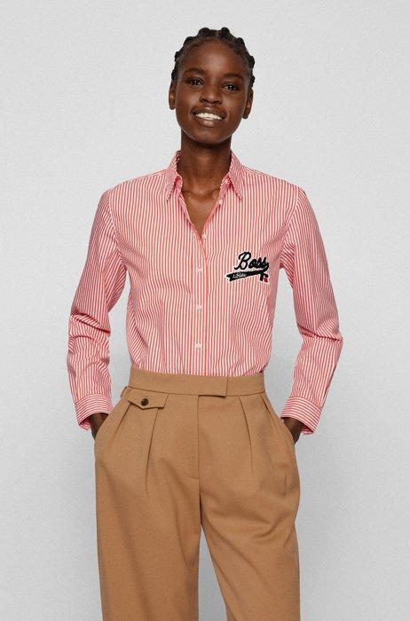 Blusa relaxed fit a rayas con logo exclusivo, Naranja