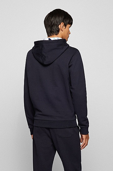 彩色图案装饰宽松连帽运动衫,  001_Black