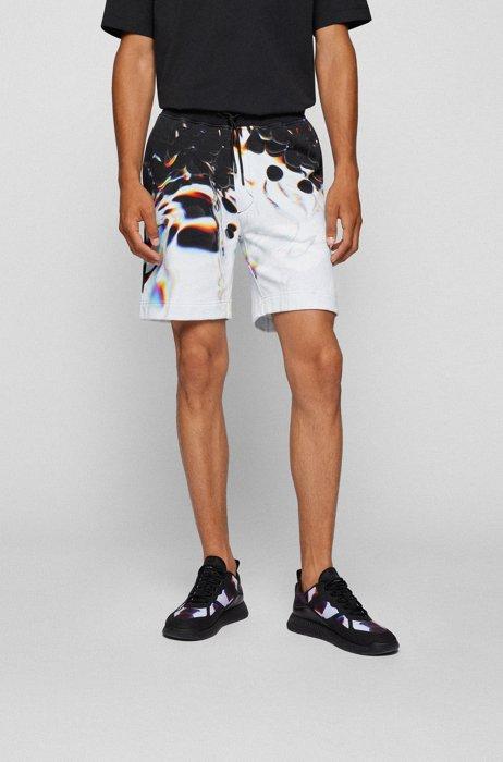 Cotton-blend logo shorts with artwork by Maxim Zhestkov, Black Patterned
