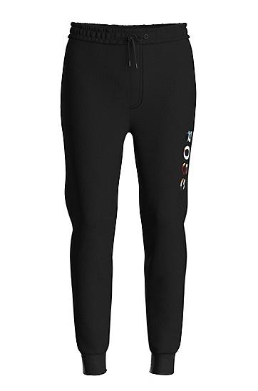 彩色徽标装饰棉混纺运动裤,  001_Black