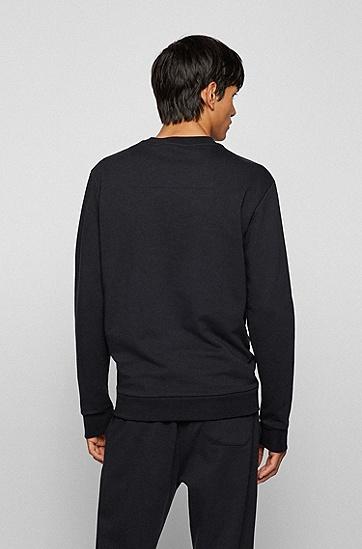 彩色徽标图案装饰宽松运动衫,  001_Black