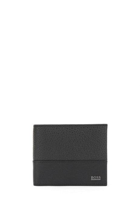 Klapp-Geldbörse aus italienischem Leder mit metallenem Logo-Schriftzug, Schwarz