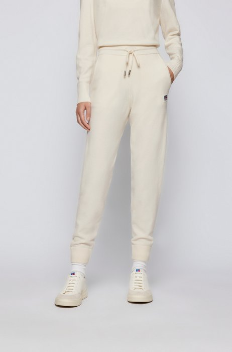 Wool-blend tracksuit bottoms with exclusive logo patch, White