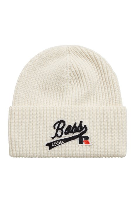 Knitted beanie hat with embroidered logo patch, White