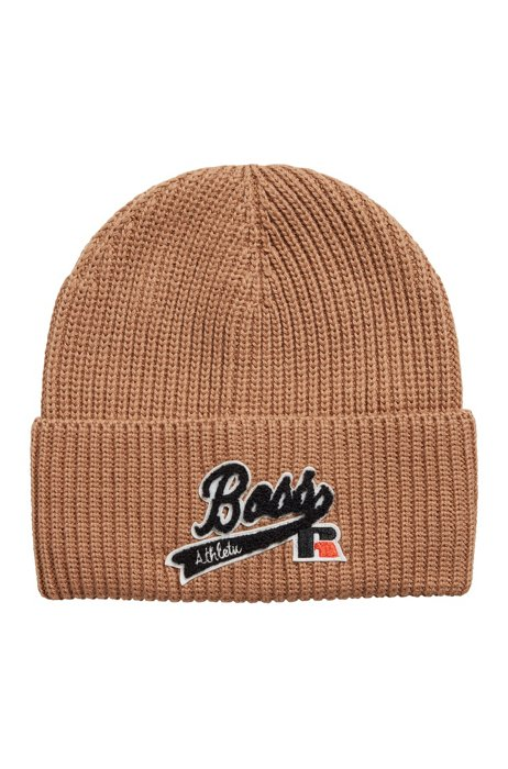 Knitted beanie hat with embroidered logo patch, Beige