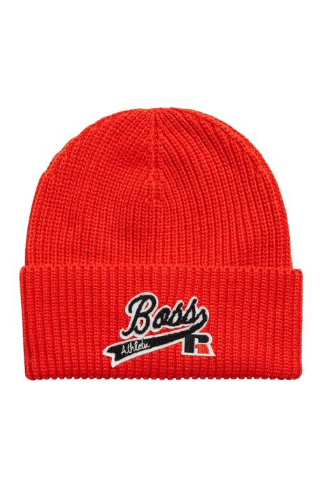 Knitted beanie hat with embroidered logo patch, Orange