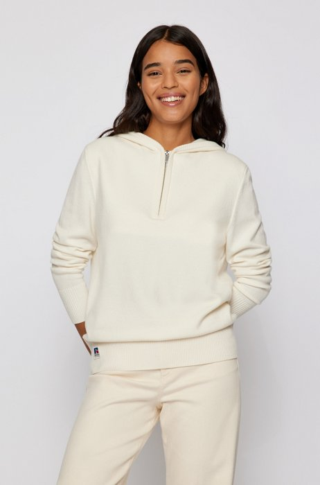 Wool-blend hooded sweater with exclusive logo, White