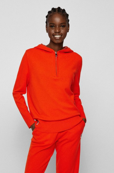 Wool-blend hooded sweater with exclusive logo, Orange