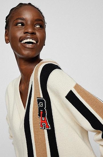 条纹与专属徽标补丁羊毛羊绒毛衣,  118_Open White