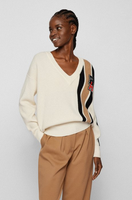Wool-cashmere sweater with stripes and exclusive logo patch, White