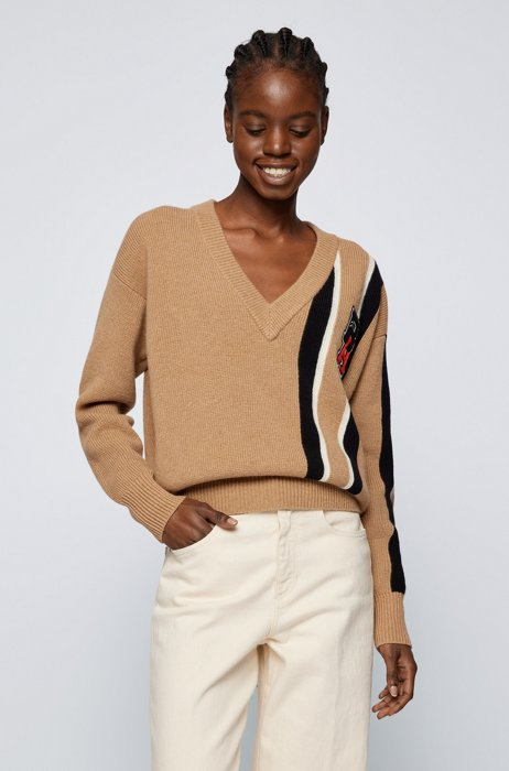 Wool-cashmere sweater with stripes and exclusive logo patch, Beige