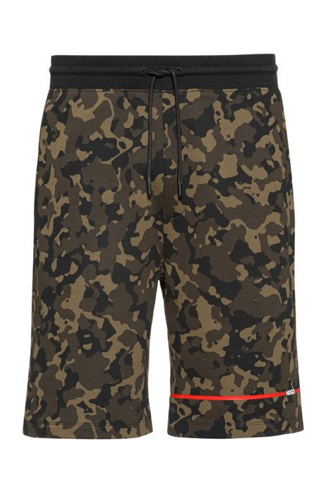 Camouflage-print shorts in cotton jersey, Khaki