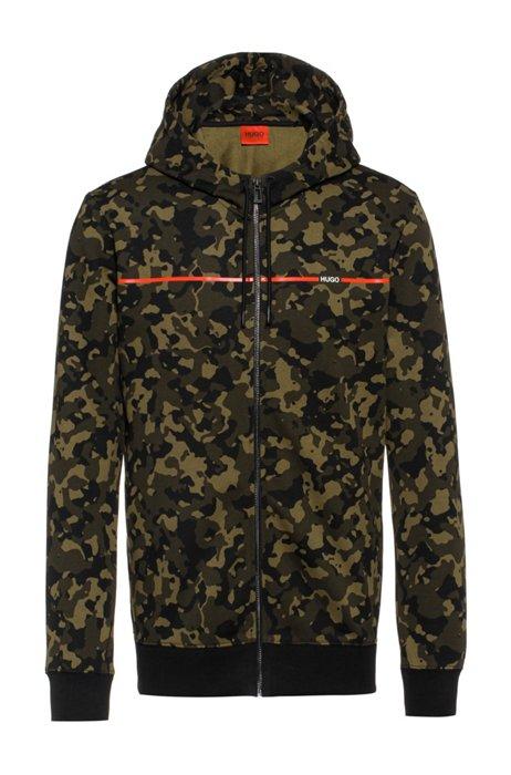 Camouflage-print hooded sweatshirt in cotton jersey, Khaki