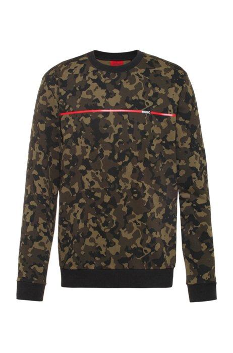 Camouflage-print sweatshirt in cotton jersey, Khaki