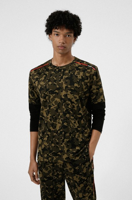 Camouflage-print T-shirt in cotton jersey, Khaki