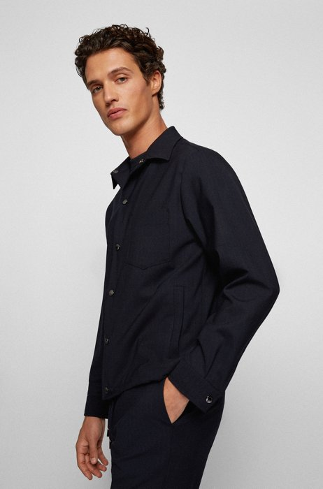 Slim-fit shirt-style jacket in bi-stretch wool, Dark Blue
