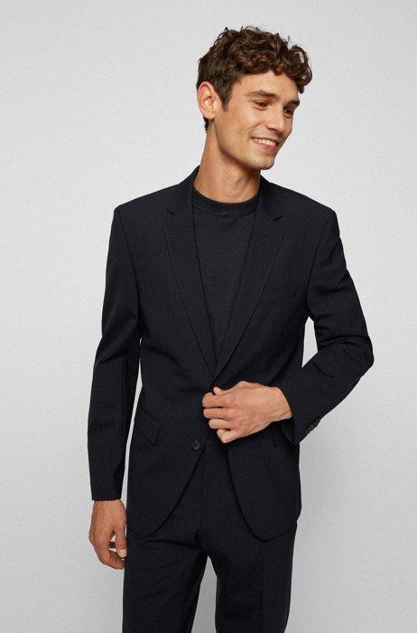 Slim-fit striped jacket in bi-stretch virgin wool, Dark Blue
