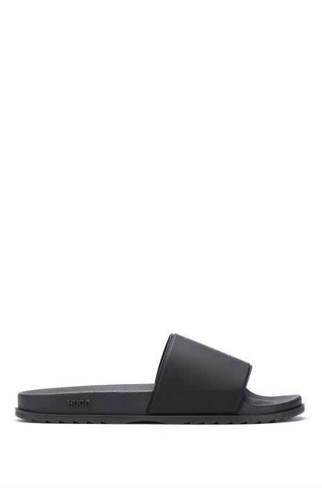Slides with cropped-logo strap, Black