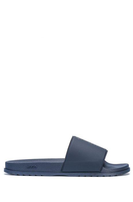 Slides with cropped-logo strap, Dark Blue