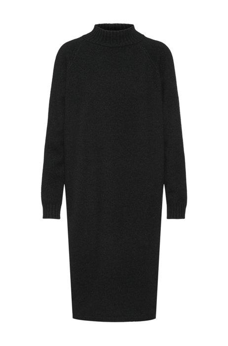 Gebreide oversized-fit jurk met hoge halslijn, Zwart