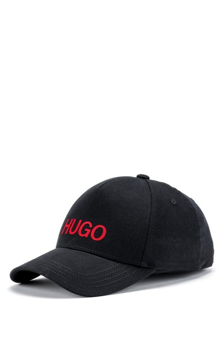 Cotton-twill cap with red logo, Black