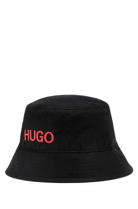 Cotton-twill bucket hat with red logo, Black