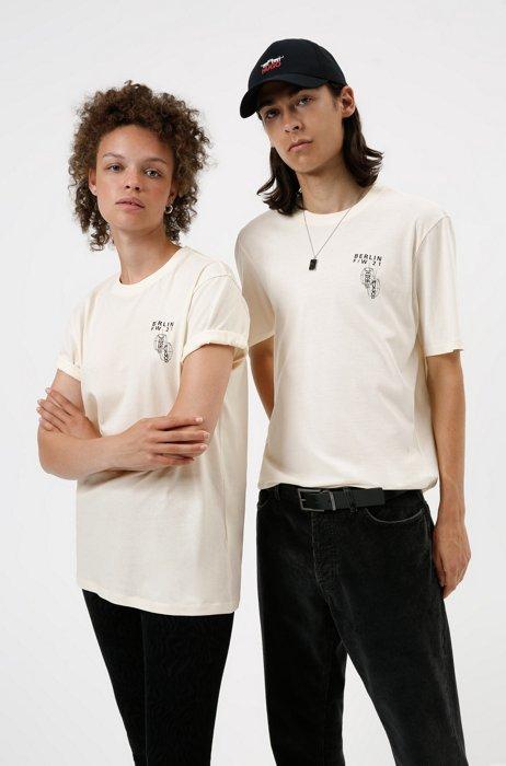 Limited-edition HUGO x Umami unisex cotton T-shirt, White