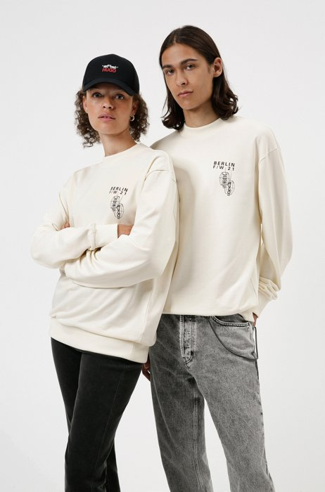 Limited-edition HUGO x Umami unisex sweatshirt in French terry cotton, White