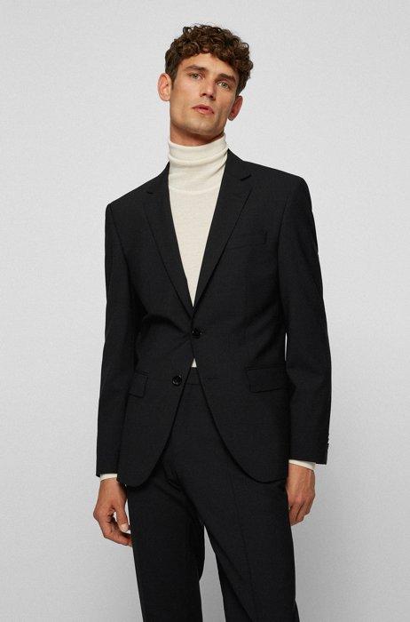 Slim-fit jacket in bi-stretch virgin wool, Dark Blue