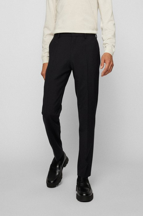 Slim-fit trousers in bi-stretch virgin wool, Black